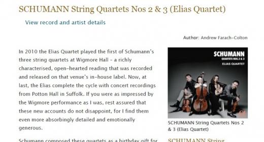 Gramophone - Schumann & Elias String Quartet